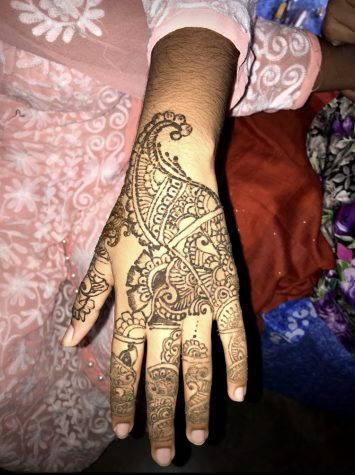 An example of henna on a hand for a religious ceremony. (photo taken by Shaiyan Feisal)
