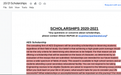 The photo shows the Guidance office's scholarship list which can be found on the Parkland Class of 2021 Schoology page