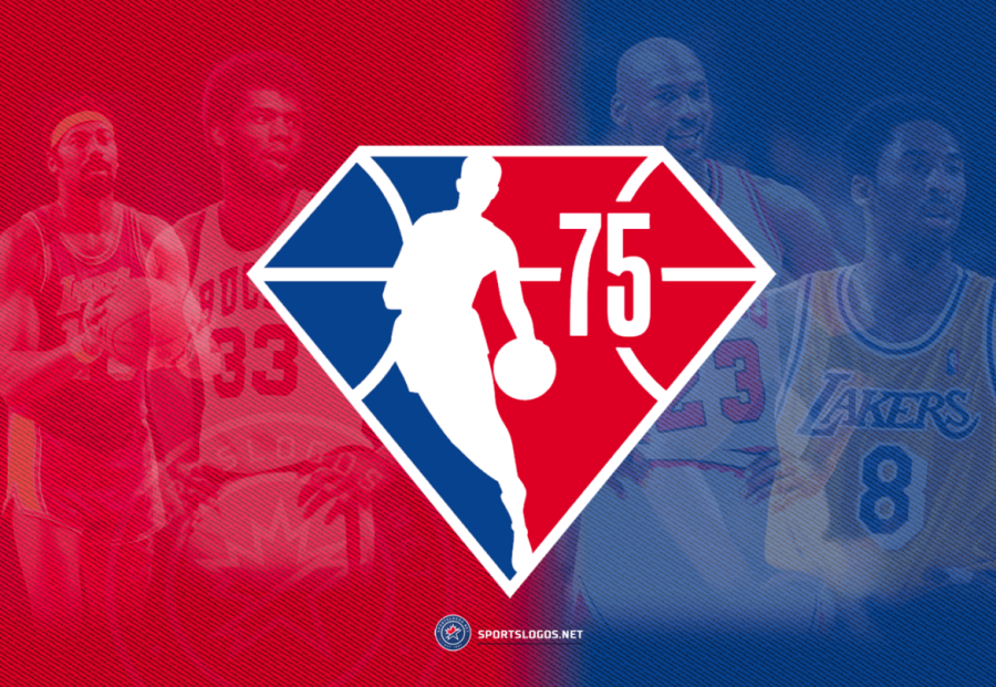 This image shows the NBAs 75th anniversary logo. Behind the logo it shows people who have impacted/changed the game forever. From left to right it shows Wilt Chamberlain, Kareem Abdul-Jabbar, Michael Jordan, and Kobe Bryant.